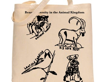Beard Bag, Funny Beard Tote Bag, Animal Beard Gift for Him