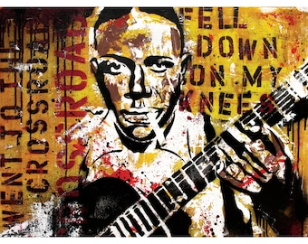 Robert Johnson - Went Down to the Crossroads - 18 x 24 High Quality Art Poster