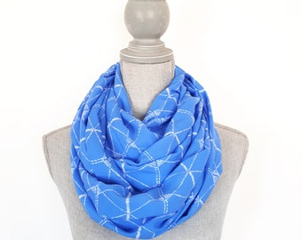 SALE - Blue Scarf, Spring Scarf, Infinity Scarf, Rayon Scarf, Geometric Print Scarf, Women's Scarf