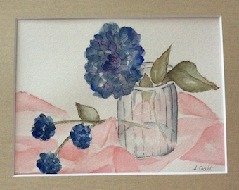 Blue Flowers original watercolor painting matted and signed featuring pen and ink