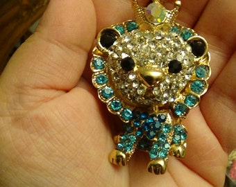 Prince Lion, Lion King Betsey Johnson Rhinestone Pendant with Gold Chain