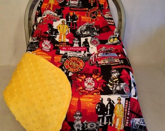 "Car Seat Canopy Cover ""Fire Fighters Are Heroes"" Cotton n Yellow Minky n Patch Custom Embroidery ""My Lil Firefighter"" Cozy Hand Made Infant"