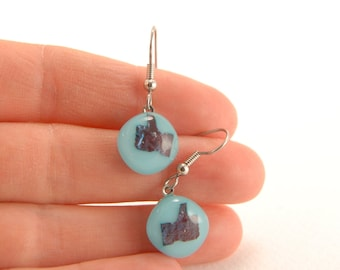 LIKE - Cyan blue fused glass dangle earrings with metallic blue Facebook 'like' button pattern for real FB fans