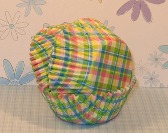 Mini Pastel Spring Plaid Cupcake Liners  (50)