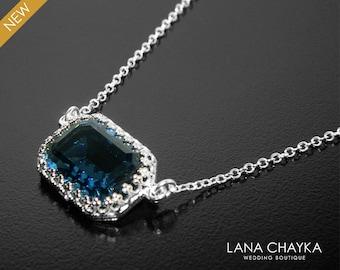 Montana Navy Blue Crystal Necklace, Swarovski Montana Blue Rectangular Necklace, Navy Blue Wedding Jewelry, Dark Blue Silver Bridal Necklace