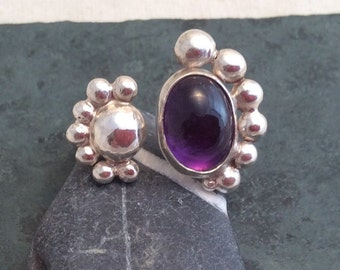 Floating Amethyst and Silver Ring with Solid Silver Bubbles