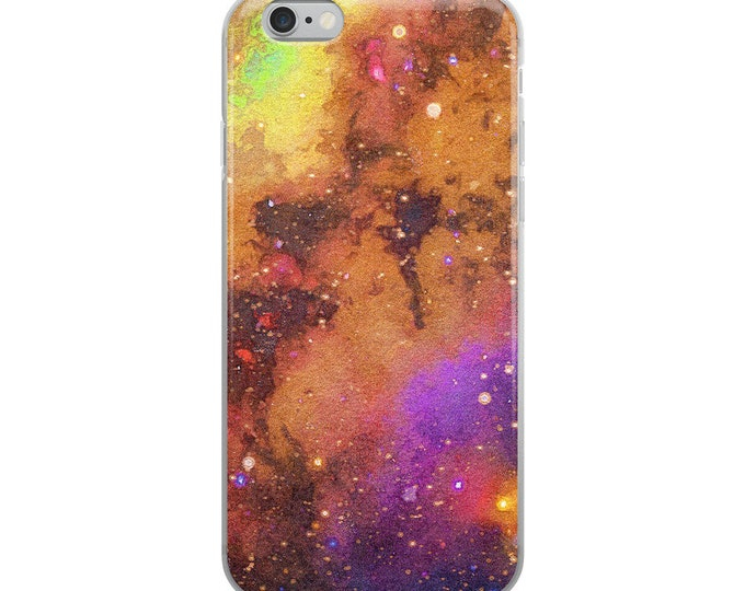 Featured listing image: Galaxy Outer Space Stars Celestial Watercolor Gouache Tamer Animals Phone iPhone Case