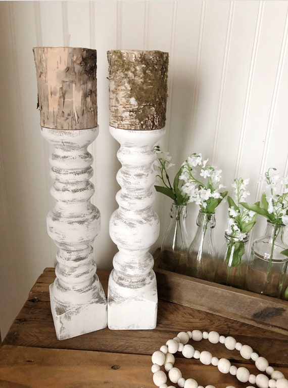 """Distressed Set of two 12"""" Hand Turned Candlesticks"""