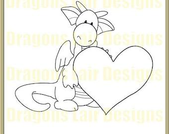 INSTANT DOWNLOAD Digi Stamps Digital Stamps Ruperts HeartDigital Stamp by Dragons Lair Designs - Love, Valentine, Hearts, Heart, Marriage