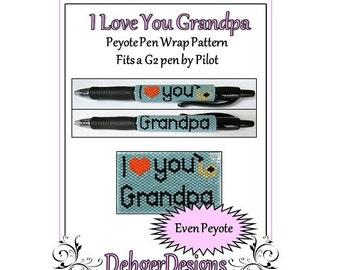 Bead Pattern Peyote(Pen Wrap/Cover)-I Love You Grandpa
