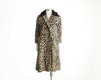 Leopard Coat Leopard Print Coat 60s Animal Print Coat Glam Rock Clothing Faux Fur Collar Coat Punk Jacket Corduroy Jacket Womens Size XXS XS