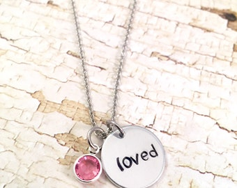 You are loved, charm necklace, for her,  for mother daughter gift, hand stamped love charm, Valentines Day, You Are Loved Necklace