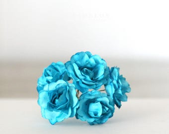 Vintage Style Millinery turquoise paper flowers 1 1/4""