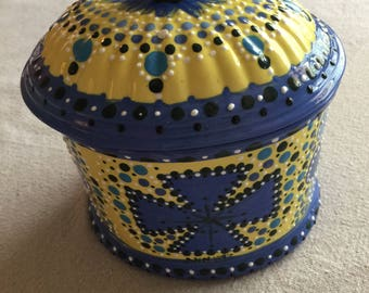 Whimsical Blue & Yellow Ceramic Box with Lid