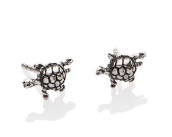 Dainty Turtle Earrings , Turtle Stud Earrings , 925 Sterling Silver, Ocean, Nautical Jewelry