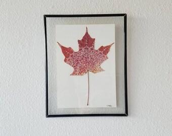 Framed Red Maple Leaf Mandala (Small)