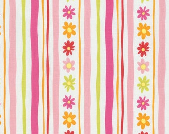 Daisy Stripe - Pink - Pandas by David Walker from Free Spirit - Floral Fabrics - Fabric by the Yard - David Walker Fabrics - Daisy Fabrics