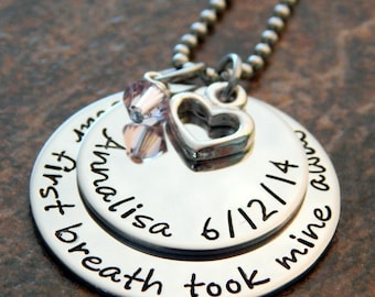Your First Breath Took Mine Away - Personalized Mothers Necklace - New Mom - Mother's Day Gift - Mom Necklace Kids Name - Kids Birthstone