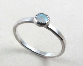 Opal and sterling silver ring, Colorful opal on thin sterling silver hammered band
