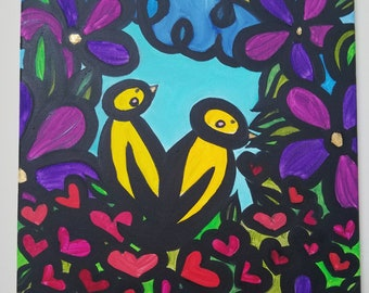 Abstract Birds in Love Nest