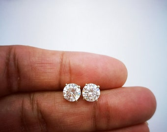 bezel cut set platinum diamond round earrings stud