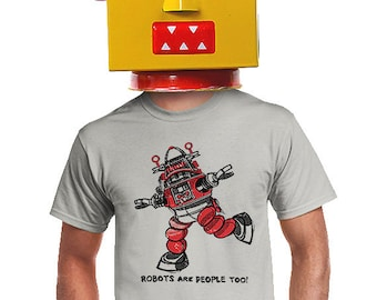robot t-shirt for geeky fans of robot toys robots and robotics sc-fi gift for comic book fan gamers nerdy student science fiction t-shirt
