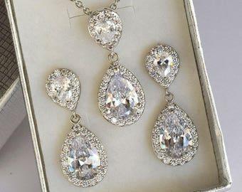 Zirconia Bridal Jewelry Set, Wedding Jewelry Set, Cubic Zirconia Jewelry set, Prom Jewelry set, Bridal earring, Bridal necklace
