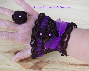 cuff bracelet black and purple Lace Gloves fingerless gloves and matching Gothic Victorian ring