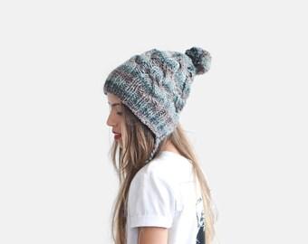 Slouchy Earflap Hat, Hand Knit Earflap Beanie, Multicolor Beanie, Tassel Earflap Hat, Striped Winter Hat, Soft Wool Beanie