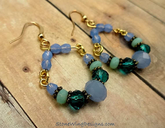 Blue and Green Rustic Boho Handmade Hoop Earrings with Czech Firepolish and Antique Brass