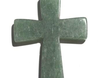 Vintage Large Aventurine Cross Pendant  (1060318)
