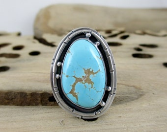 Number 8 Turquoise, Sterling Silver, Ring
