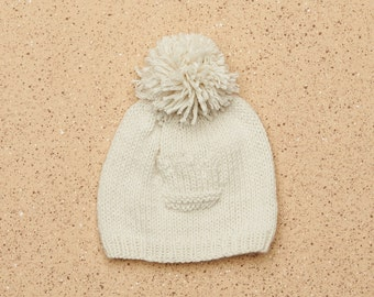 100% Cashmere Luxury Baby Hat with Tiara knit Detail