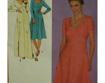 "Plus Size Dress Pattern, 80s, V-Neck, Shaped Bodice, A-line Skirt, Short/Long Sleeves, Simplicity No. 9478 Size 18 20 Bust 44-46"" 112-117cm"