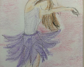 Purple and pink aura ballerina charcoal pencil sketch and colored with pastels. Comes with the 5x7 matting for a 8x10 frame.