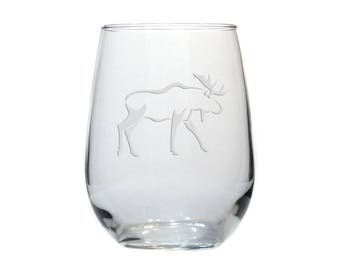 Moose Wine Glass - #3 / Personalized Wine Glass / Free Personalization / Etched Stemless Wine Glass / Engraved Moose Glass /