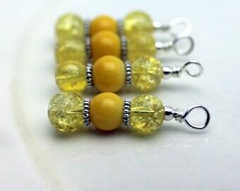 Yellow Cracked Glass Bead, Earring Dangle, Pendant, Charm, Drop Set, Yellow Dangles