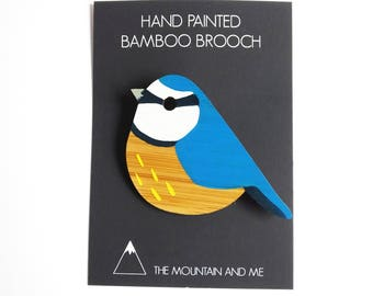 Bird Brooch, Bird Jewellery, Bird Accessories, Blue Tit Brooch, Blue Tit Gifts, British Birds, Gifts for Bird Watchers, Hand Painted Brooch