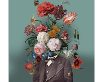 Postcard 'Self-portrait with flowers 3'