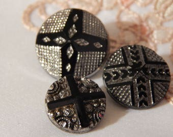 Cross Design - Antique Black Glass Buttons with Silver Luster - 3 Different Designs