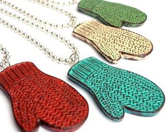 Knit Mitten Necklace, Smitten Pendant, Gift for Knitter, Teacher Gift