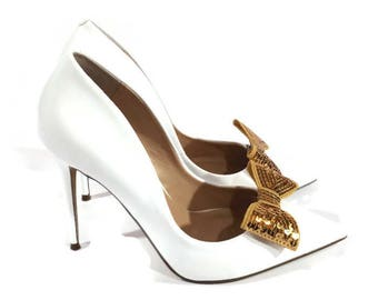 Gold Shoe Clips, Gold Sequin Bows, Gold Wedding Shoe Clips, Gold Bridal Shoes