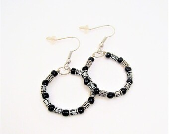 black and silver tribal beaded hoop earrings