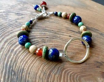 Gemstone Circle Bracelet, Multistone Sterling Silver Bracelet, Lapis Turquoise Jasper Carnelian Bracelet