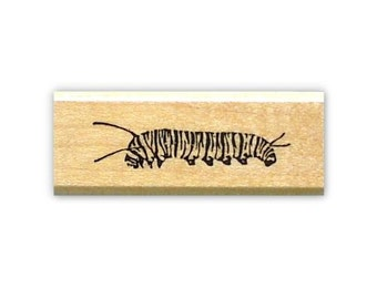 Caterpillar mounted rubber stamp, monarch, realistic bug, summer, Sweet Grass Stamps No.9