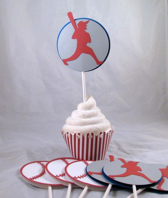 Cupcake Toppers, Baseball Cupcake Toppers, Set of 12