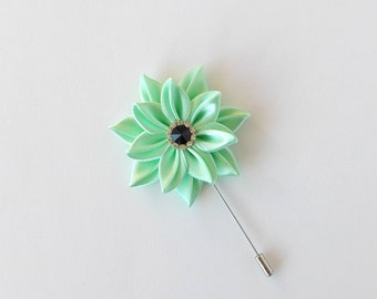 Mint Green Men's Flower Lapel Pin Light Green Wedding Boutonniere. Kanzashi Fabric Flower Lapel Pin. Boutonniere Lapel Pin Handmade Brooch