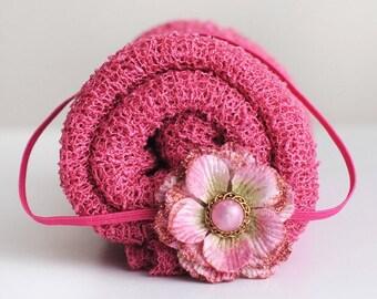Knit Baby Wrap, Pink Knit Wrap Set, Baby Knit Wrap, Newborn Prop, Newborn Knit Wrap, Newborn Wrap Set, Photography Prop