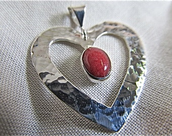 Sterling silver heart pendant with red jadeite