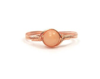 Peach Quartz Wire Wrapped Ring in Copper- Custom Sized
